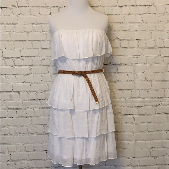 by & by Dresses & Skirts - White Strapless Ruffled Dress